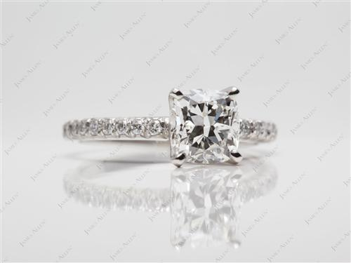 Platinum 1.21 Cushion cut Micro Pave Engagement Rings