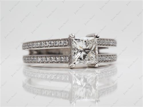 Platinum 1.00 Princess cut Micro Pave Ring