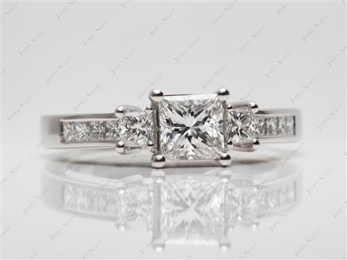 Platinum 1.00 Princess cut Diamond Ring With Side Stones