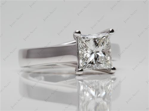 White Gold 1.51 Princess cut Solitaire Ring Settings