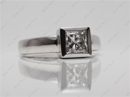 Platinum 0.73 Princess cut Tension Rings