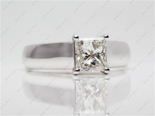 White Gold 1.38 Princess cut Diamond Solitaire Ring Settings