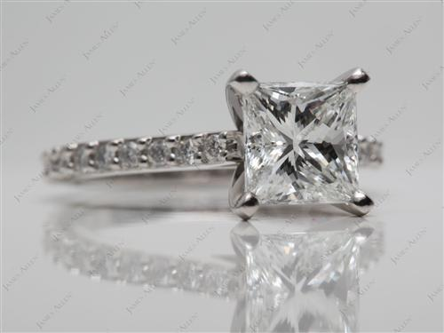Platinum 1.52 Princess cut Side Stone Engagement Rings