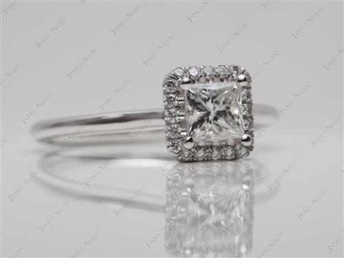 White Gold 0.48 Princess cut Pave Engagement Rings