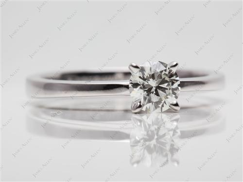 White Gold 0.51 Round cut Engagement Ring