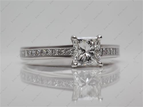 Platinum 1.01 Princess cut Channel Set Engagement Rings