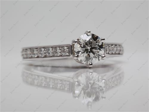 White Gold 0.76 Round cut Micro Pave Ring