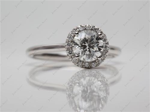 Platinum 0.94 Round cut Pave Ring