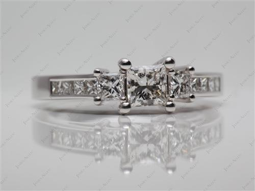 White Gold 0.57 Princess cut Engagement Rings Side Stones