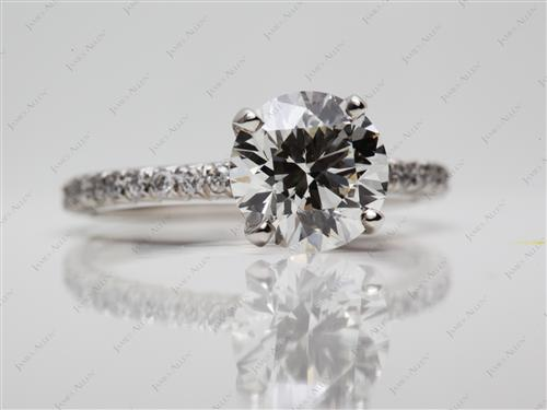 Platinum 1.87 Round cut Pave Ring Set