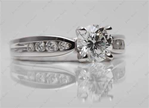 White Gold 1.14 Round cut Diamond Channel Ring