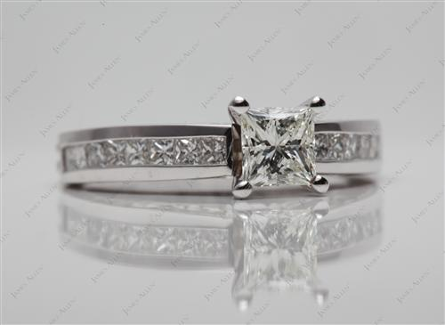 White Gold 0.61 Princess cut Channel Rings