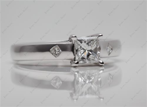 White Gold 0.58 Princess cut Solitaire Diamond Ring