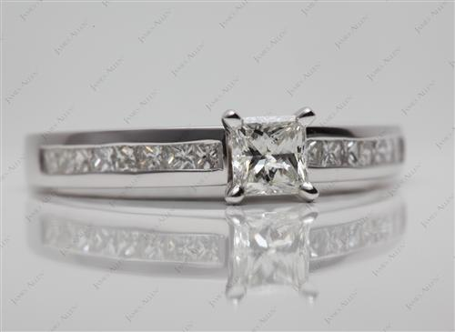 White Gold 0.54 Princess cut Channel Setting Engagement Rings