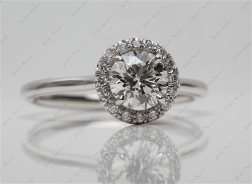 Platinum 0.89 Round cut Micro Pave Engagement Rings
