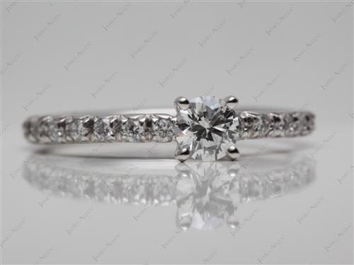 Platinum 0.36 Round cut Pave Ring Settings
