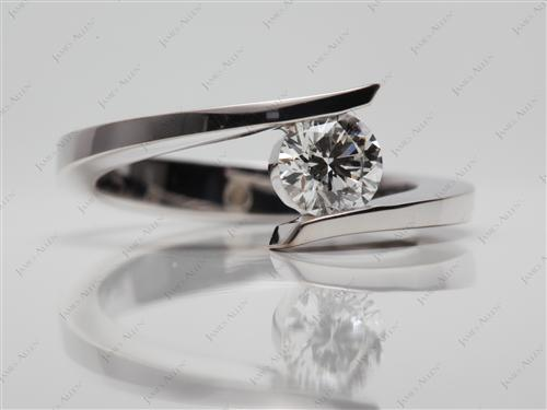 White Gold 0.58 Round cut Solitaire Diamond Ring