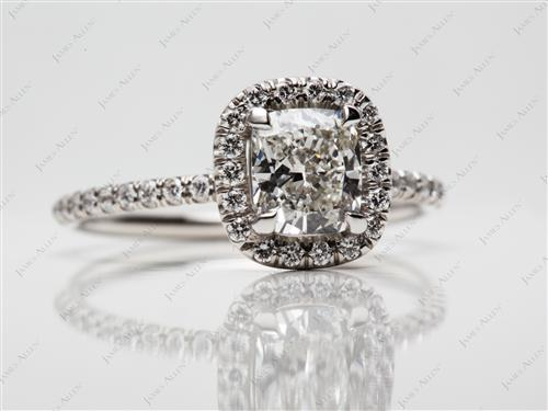 Platinum 1.01 Cushion cut Micro Pave Engagement Rings