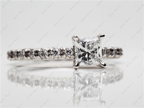 Platinum 0.77 Princess cut Pave Diamond Engagement Rings
