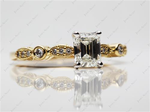 Gold 1.01 Emerald cut Engagement Rings With Side Stones