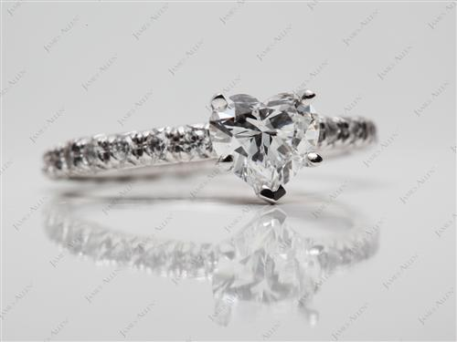 Platinum 0.93 Heart shaped Engagement Ring