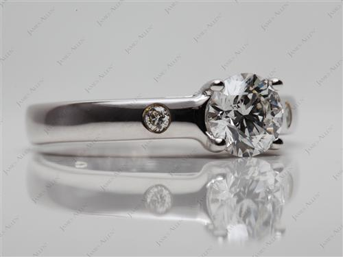 White Gold 0.81 Round cut Diamond Engagement Solitaire Rings