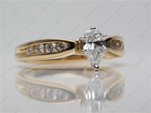 Gold 0.47 Pear shaped Channel Set Diamond Engagement Ring