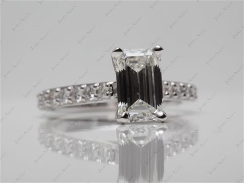 White Gold 1.42 Emerald cut Diamond Rings