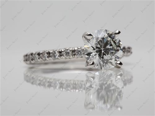 Platinum 1.56 Round cut Micro Pave Engagement Rings