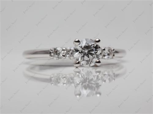 White Gold 0.51 Round cut Engagement Ring Settings With Side Stones