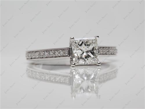 White Gold 1.07 Princess cut Engagement Rings Pave