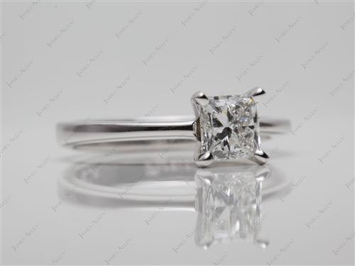 White Gold 0.81 Princess cut Diamond Ring