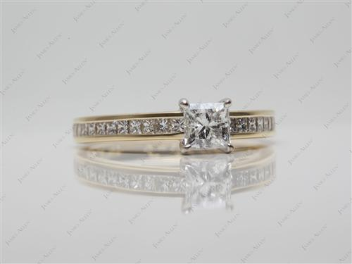 Gold 0.52 Princess cut Channel Set Eternity Rings