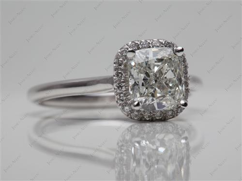Platinum 1.71 Cushion cut Pave Engagement Ring
