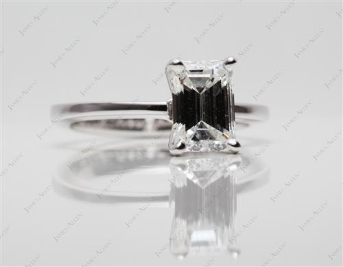 White Gold 1.24 Emerald cut Engagement Rings