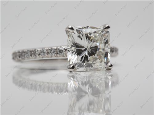 Platinum 2.23 Radiant cut Engagement Rings Pave
