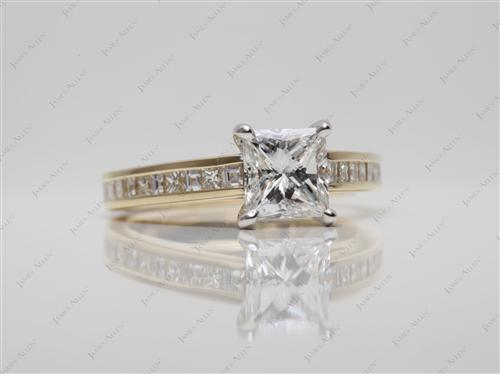 Gold 1.07 Princess cut Engagement Rings