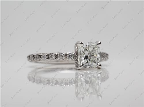 Platinum 1.20 Cushion cut Pave Diamond Ring