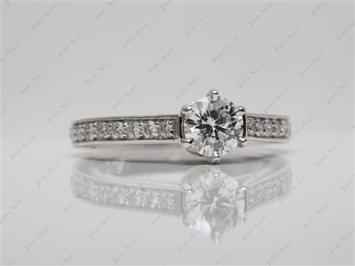 Platinum 0.72 Round cut Pave Engagement Rings