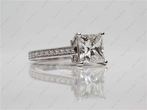 White Gold 1.70 Princess cut Pave Diamond Engagement Rings