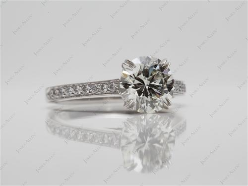 Platinum 1.50 Round cut Engagement Rings Pave