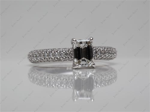 White Gold 0.71 Emerald cut Engagement Rings Pave
