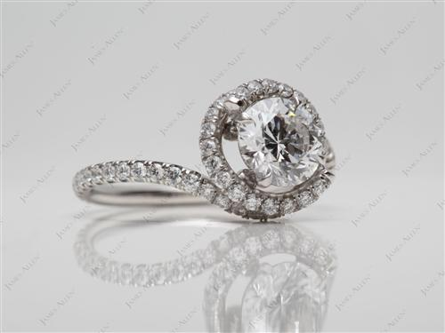 Platinum 0.93 Round cut Micro Pave Diamond Engagement Rings