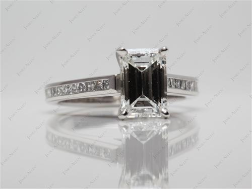 Platinum 1.90 Emerald cut Channel Setting Engagement Ring
