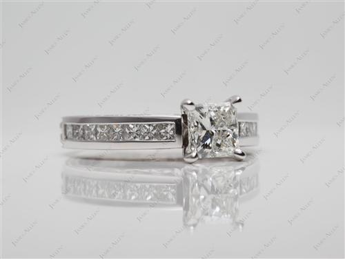 White Gold 0.83 Princess cut Channel Set Diamonds
