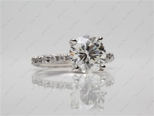 Platinum 2.54 Round cut Diamond Rings