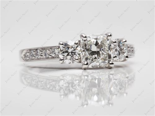 Platinum 1.22 Cushion cut Engagement Rings