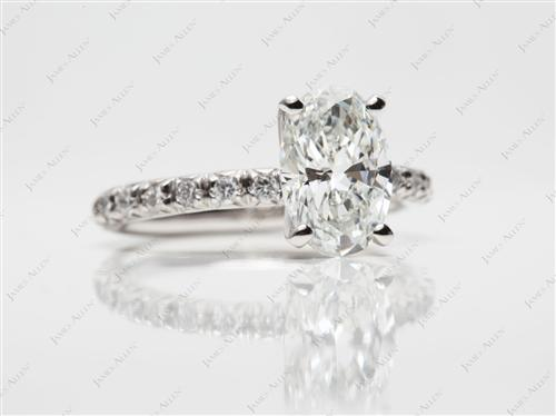 Platinum 1.58 Oval cut Engagement Ring