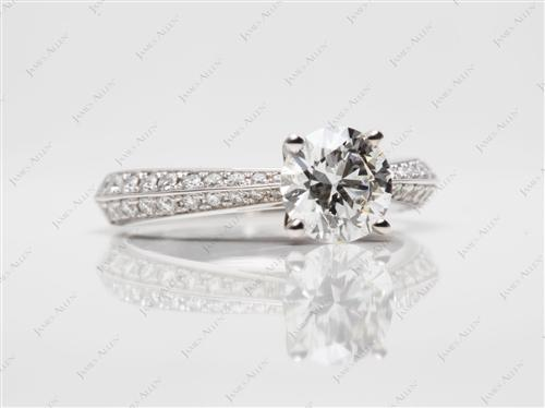White Gold 1.02 Round cut Pave Ring Mountings