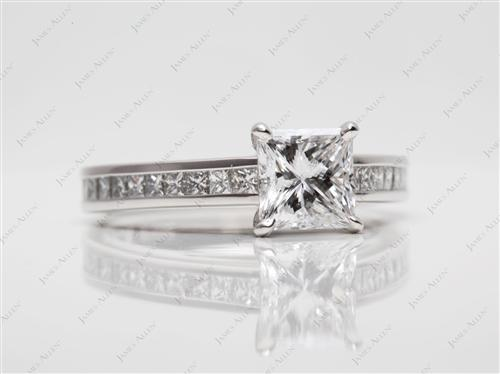Platinum 1.01 Princess cut Channel Set Diamond Ring